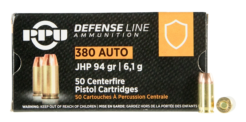 .380 ACP 94 Grain JHP PPU Defense Line