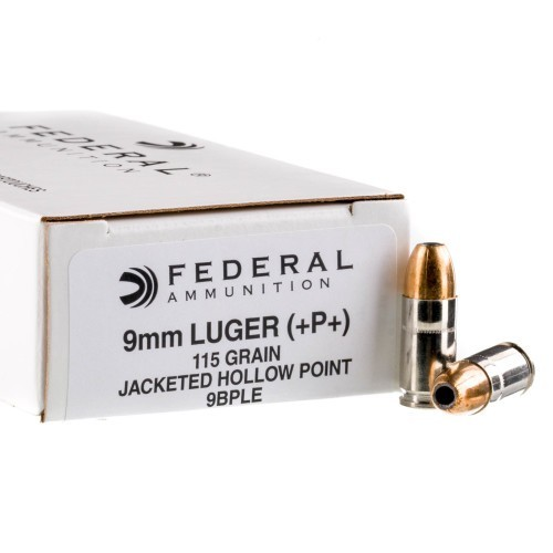 9mm Luger  Hollow Point Ammo 115gr JHP +P+ Federal 50 Rounds