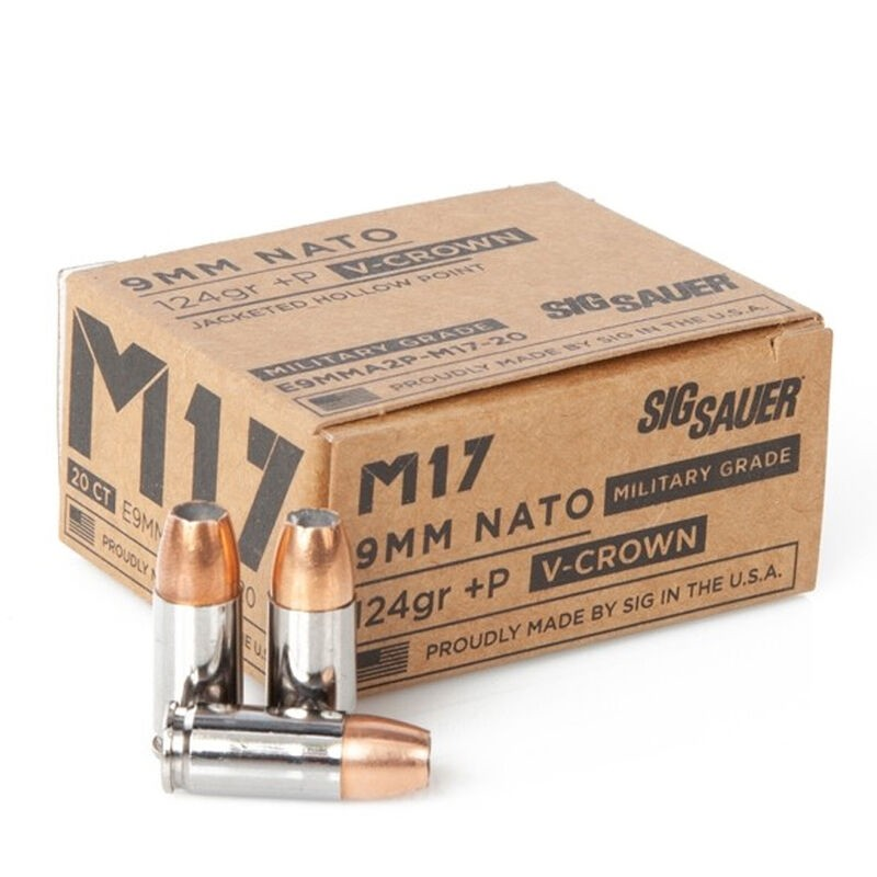 9mm Luger M17 124 Grain +P V-Crown Sig Sauer